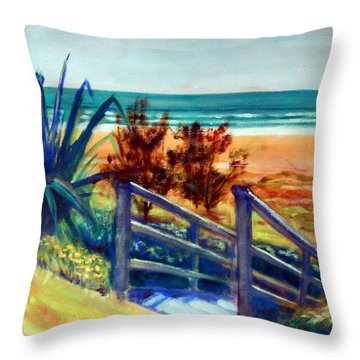 Down The Stairs To The Beach Throw Pillow