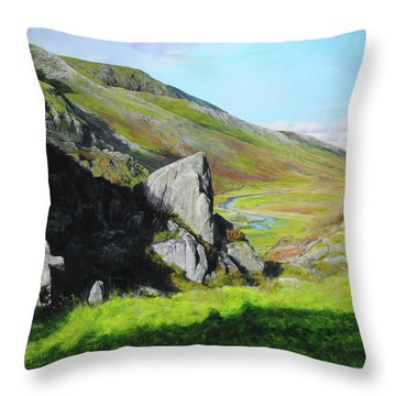 Down The Valley Throw Pillow by Harry Robertson