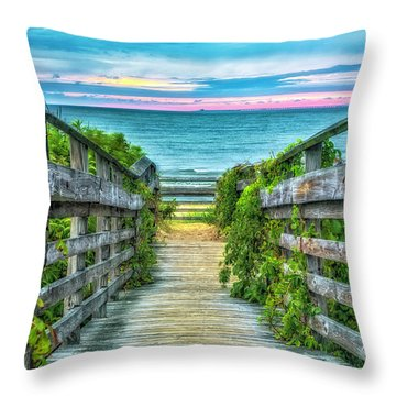 Down To The Beach Throw Pillow
