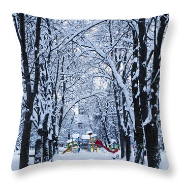 Down To The Park Throw Pillow by Rae Tucker