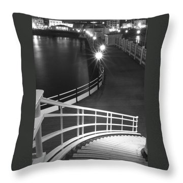 Down To The Pier Throw Pillow by Hazy Apple