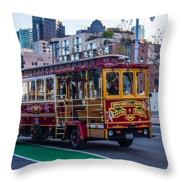 Down Town Trolly Car Throw Pillow by Brian Williamson