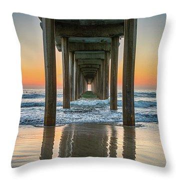 Down Under Scripp's Pier  Throw Pillow