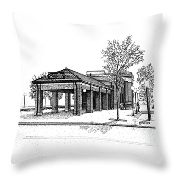 Downers Grove Main Street Train Station Throw Pillow