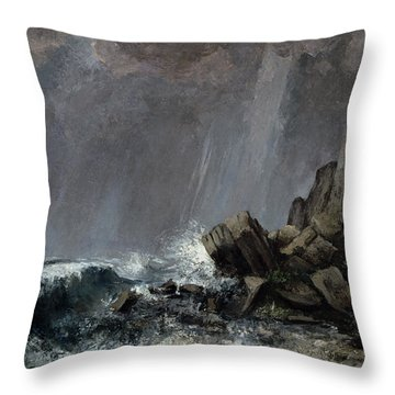 Downpour At Etretat  Throw Pillow by Gustave Courbet