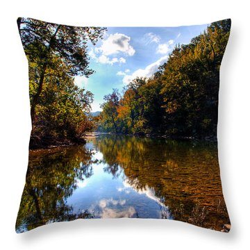 Throw Pillow featuring the photograph Downriver At Ozark Campground by Michael Dougherty