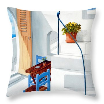 Downstairs In Santorini - Prints Of Original Oil Painting Throw Pillow