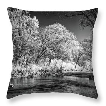 Throw Pillow featuring the photograph Downstream At Natural Dam by James Barber