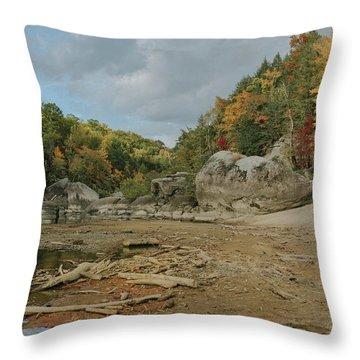 Downstream From Cumberland Falls Throw Pillow