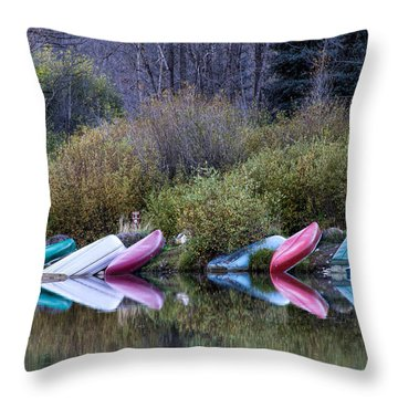 Downtime At Beaver Lake Throw Pillow by Alana Thrower