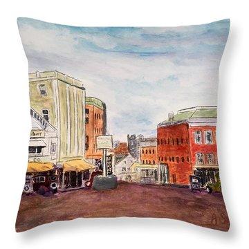 Downtown Amesbury Ma Circa 1920 Throw Pillow