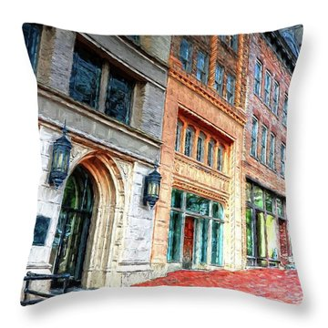 Downtown Asheville City Street Scene II Painted Throw Pillow