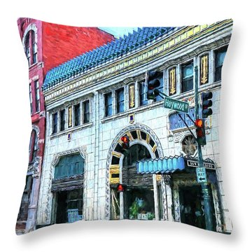 Downtown Asheville City Street Scene Painted  Throw Pillow