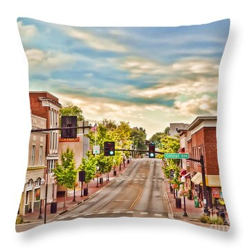Downtown Blacksburg Throw Pillow