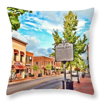 Downtown Blacksburg With Historical Marker Throw Pillow