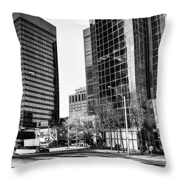 Throw Pillow featuring the photograph Downtown Bubble Reflections by Darcy Michaelchuk