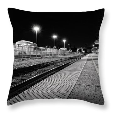 Throw Pillow featuring the painting Downtown Burbank Train Station - Downtown Burbank Art by Lourry Legarde