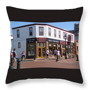 Downtown Cape May New Jersey Throw Pillow by Rod Jellison