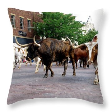 Downtown Cattle Drive Throw Pillow