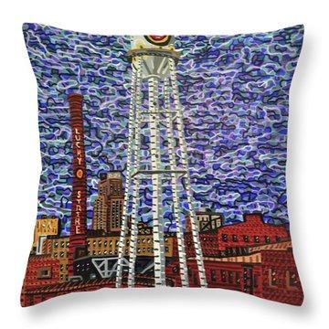 Downtown Durham Throw Pillow by Micah Mullen