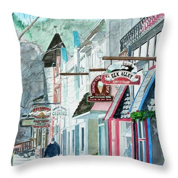 Throw Pillow featuring the painting Downtown Estes Park Winter by Tom Riggs