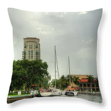 downtown Ft Lauderdale waterfront Throw Pillow