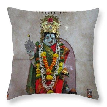 Downtown Ganeshpuri Durga Temple Throw Pillow by Jennifer Mazzucco