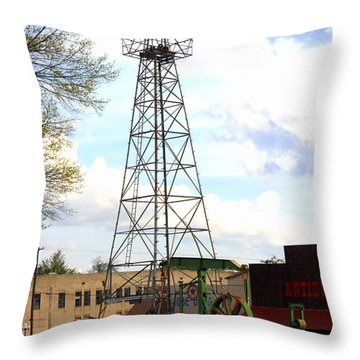 Downtown Gladewater Oil Derrick Throw Pillow