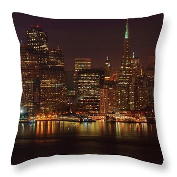 Downtown Gotham City Throw Pillow