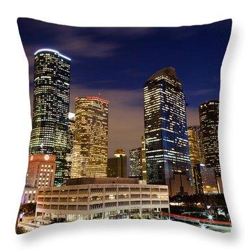 Downtown Houston At Night Throw Pillow