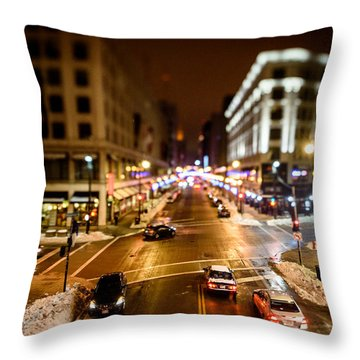 Downtown In The Itty-bitty City Throw Pillow