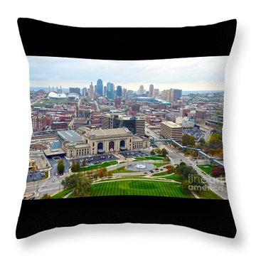 Downtown Kansas City From Liberty Memorial Tower Throw Pillow