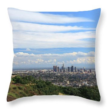 Downtown Los Angeles Throw Pillow by Nicholas Burningham