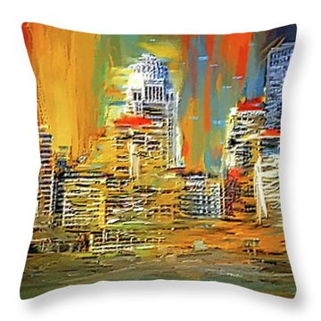 Throw Pillow featuring the painting Downtown Louisville - Colorful Abstract Art by Lourry Legarde