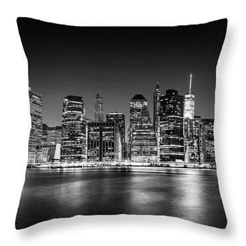 Downtown Manhattan Bw Throw Pillow by Az Jackson