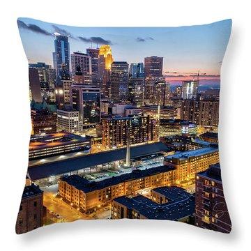 Downtown Minneapolis At Dusk Throw Pillow