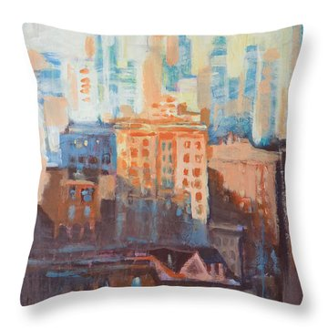 Downtown Old And New Throw Pillow by John Fish