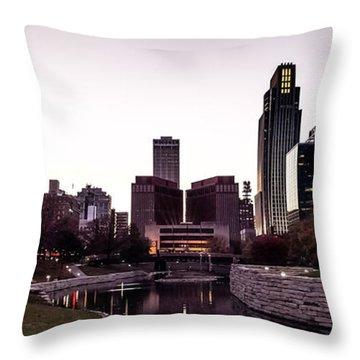 Downtown Omaha At Sunset Throw Pillow