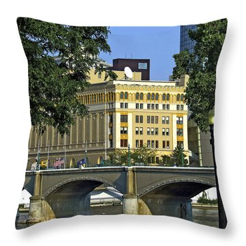 Downtown On The River Throw Pillow