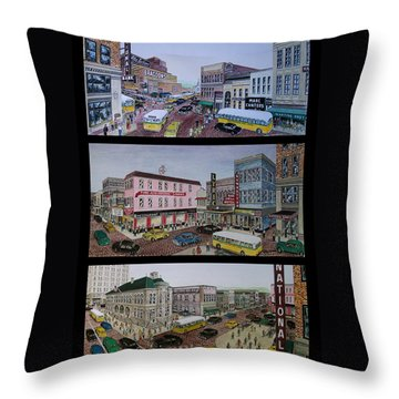 Downtown Portsmouth 1948 Throw Pillow by Frank Hunter