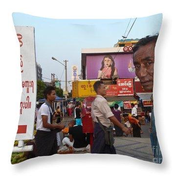 Downtown Rangoon Burma With Curious Man Throw Pillow