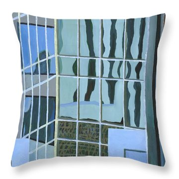 Downtown Reflections Throw Pillow by Alika Kumar