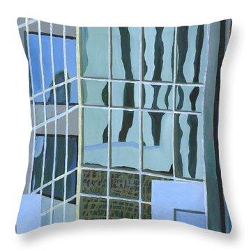 Downtown Reflections Throw Pillow by Alika Kumar