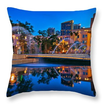 Downtown San Diego Waterfront Park Throw Pillow