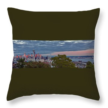 Downtown Seattle At Dusk Throw Pillow