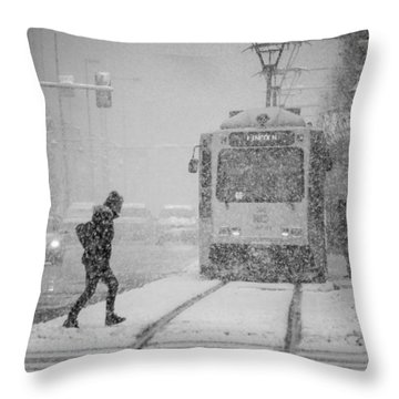 Downtown Snow Storm Throw Pillow