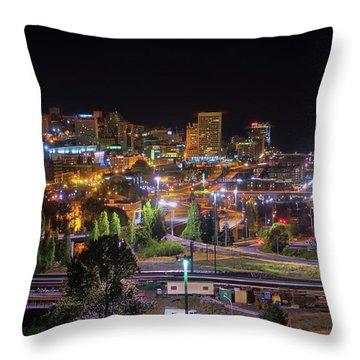 Downtown Tacoma Night Throw Pillow