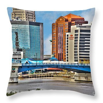 Downtown Toledo Riverfront Throw Pillow
