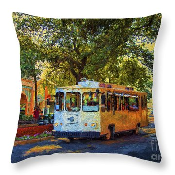 Downtown Trolley Throw Pillow