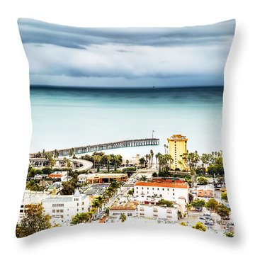 Downtown Ventura And Pier Throw Pillow